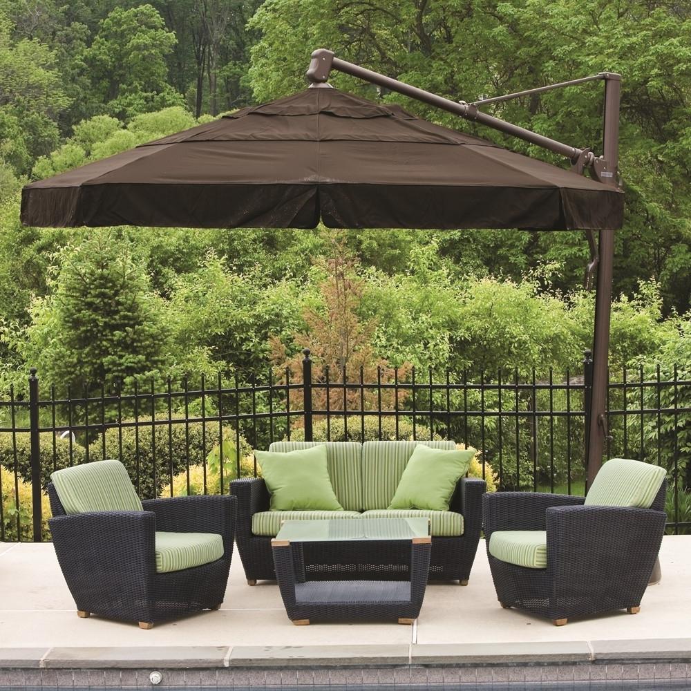Famous Patio Deck Umbrellas With Contemporary Patio Outdoor With Cantilever Rectangle Stand Umbrella (View 7 of 20)