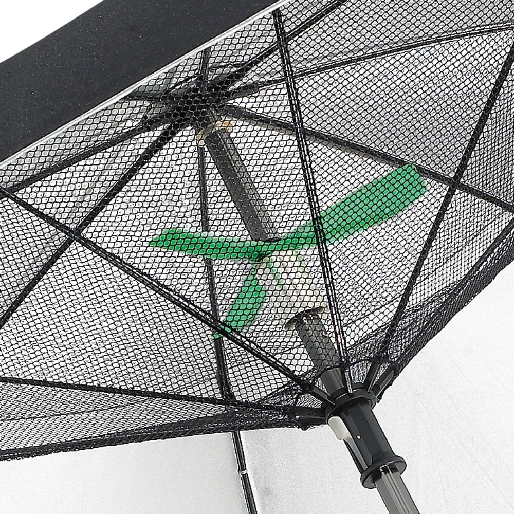 Fanbrella – Uv Reflecting Umbrella With Motorized Fan – The Green Head Throughout Most Current Patio Umbrellas With Fans (View 7 of 20)