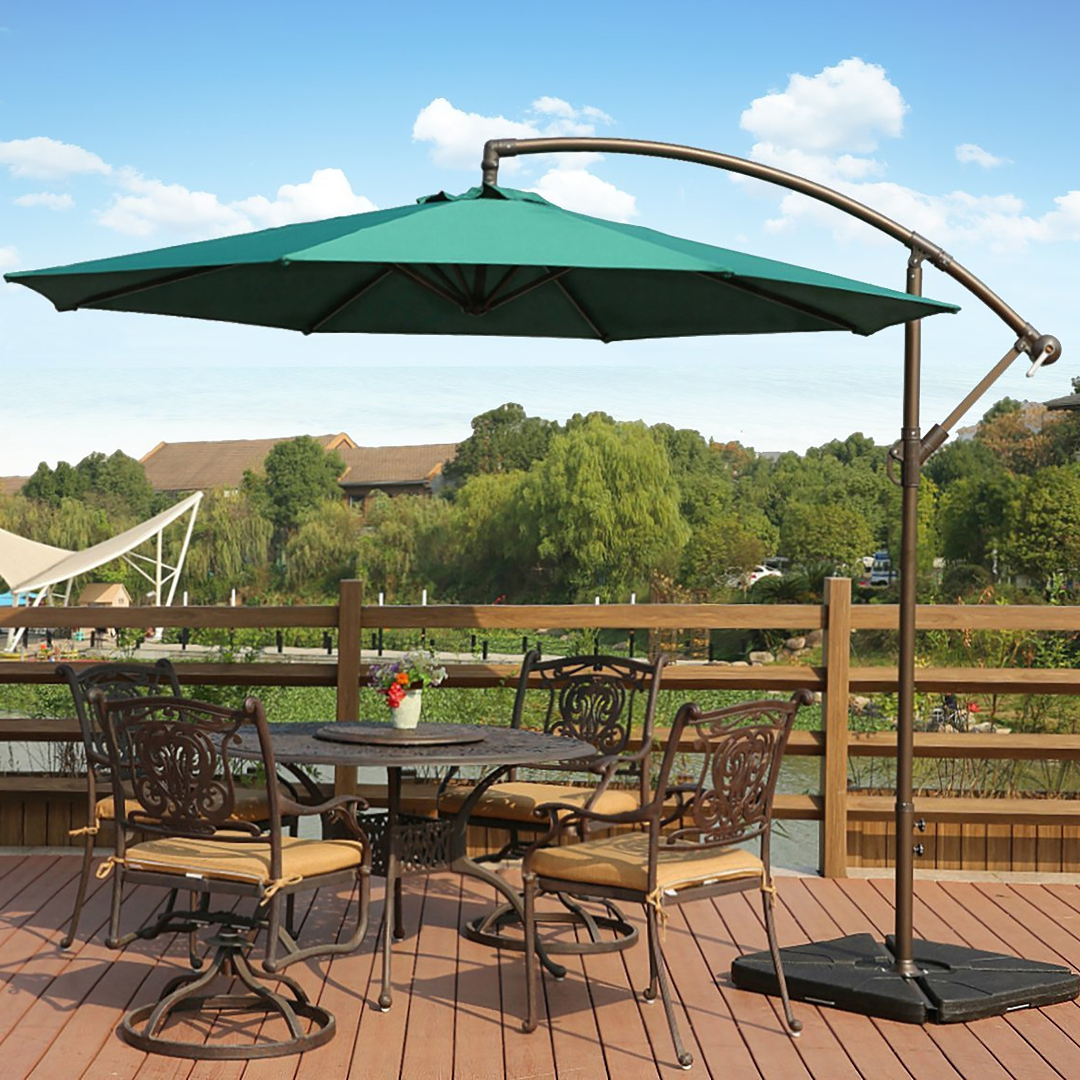 Fashionable Gold Coast Patio Umbrellas Pertaining To Shop Weller 10 Ft Offset Cantilever Hanging Patio Umbrellawestin (Gallery 11 of 20)