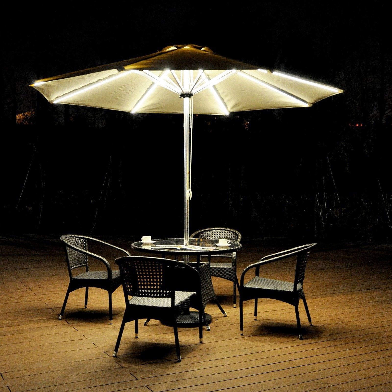 Featured Photo of Lighted Patio Umbrellas