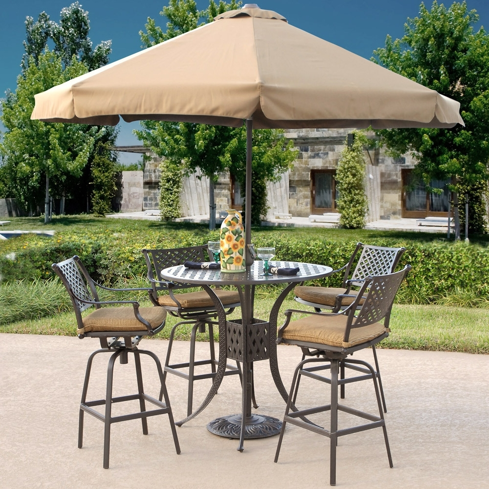 Fashionable Patio Furniture Sets With Umbrellas Throughout High Top Patio Table Set Material Option (View 9 of 20)