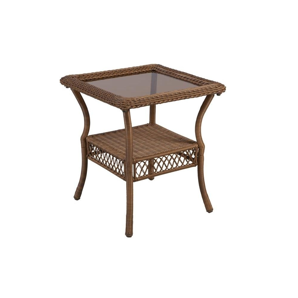 Fashionable Patio Umbrellas With Accent Table For Hampton Bay Spring Haven Brown All Weather Wicker Patio Side Table (View 5 of 20)