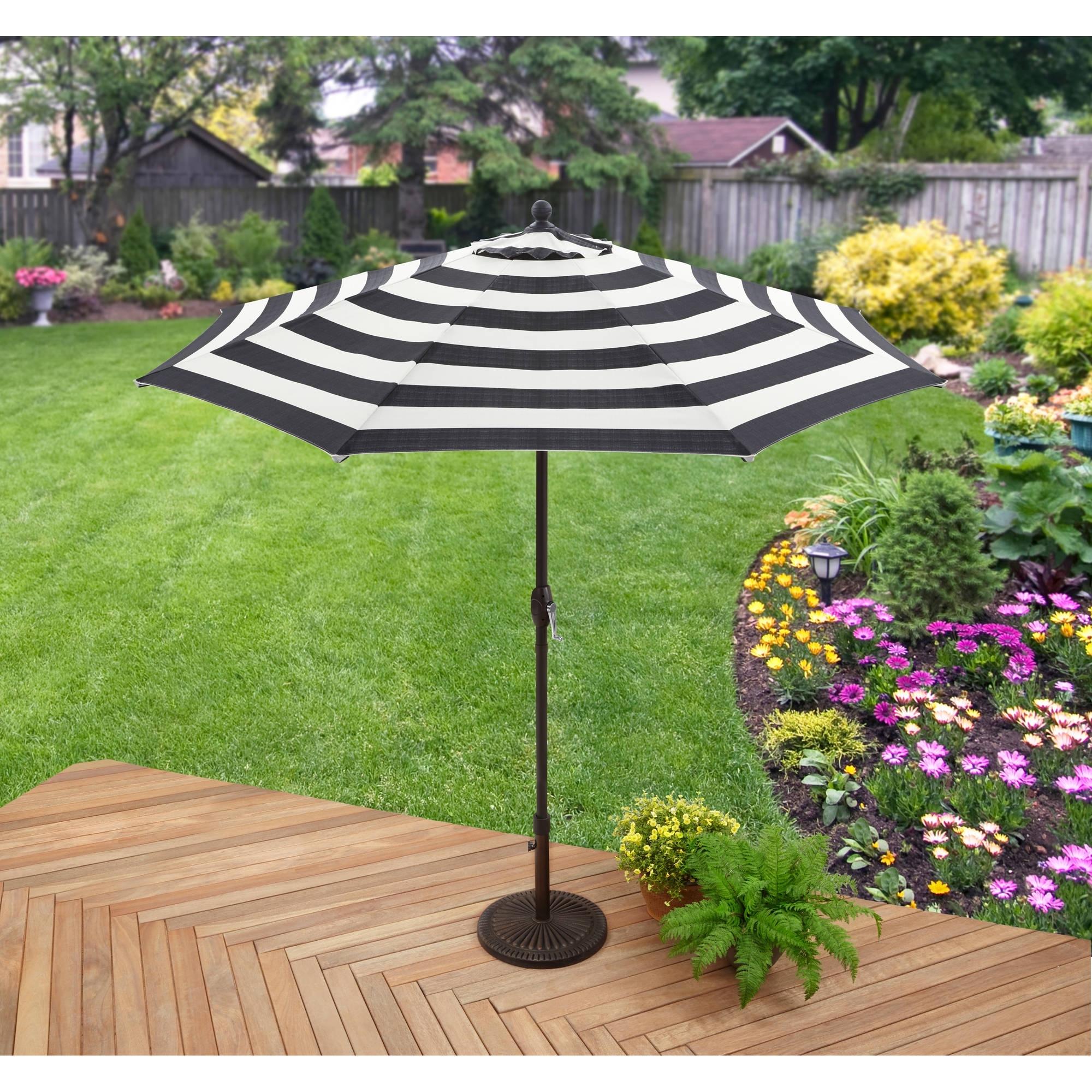 Favorite Custom Sunbrella Patio Umbrellas In Better Homes And Gardens 9' Market Umbrella, Cabana Stripe – Walmart (View 13 of 20)
