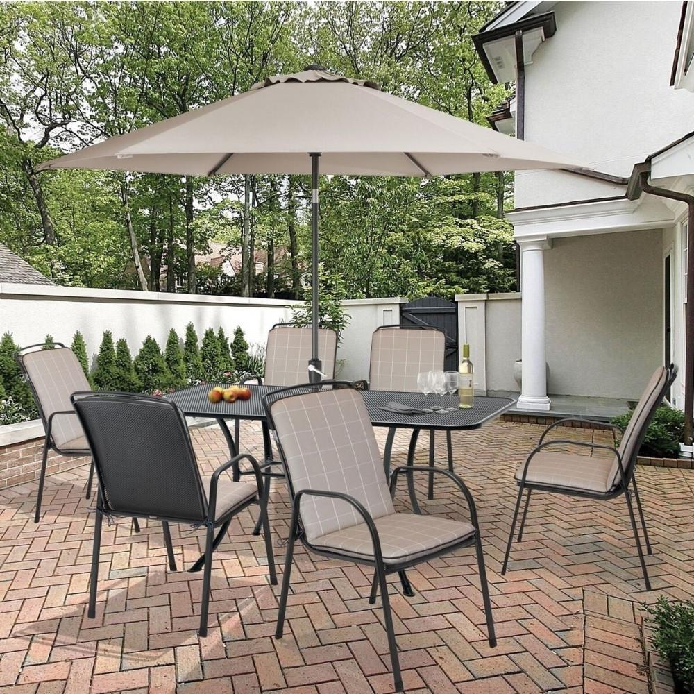 Favorite Kettler Savita 6 Seat Rectangular Metal Garden Furniture Set For Kettler Patio Umbrellas (View 13 of 20)