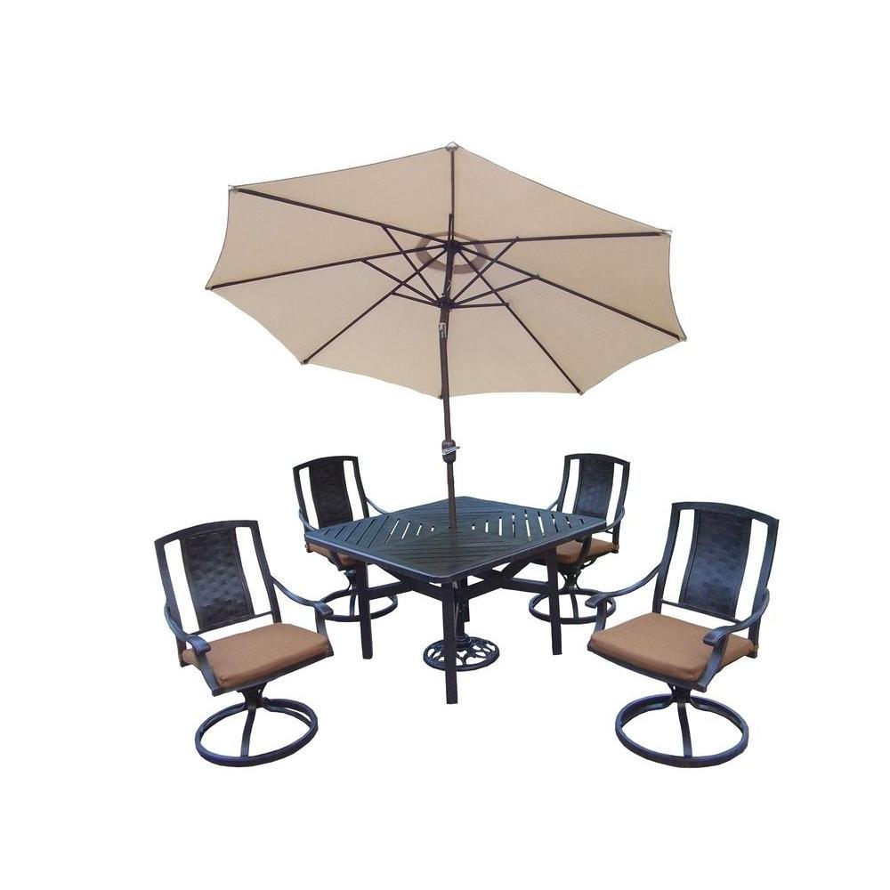 Favorite Oakland Living 7 Piece Square Aluminum Patio Dining Set With For Sunbrella Teak Umbrellas (View 5 of 20)