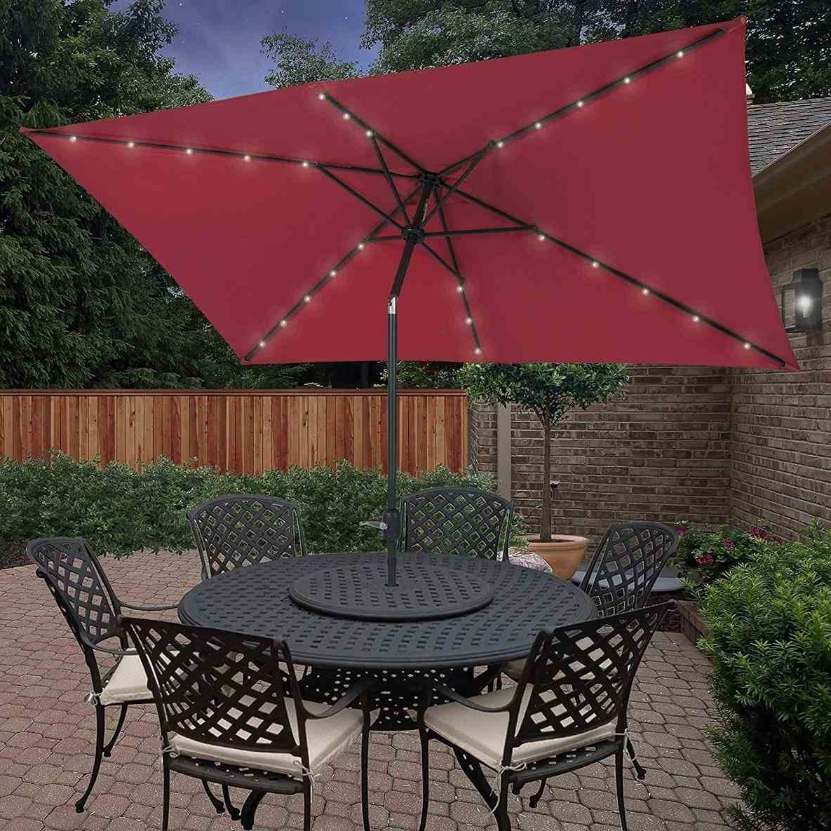Favorite Rectangular Patio Umbrellas Pertaining To Rectangular Patio Umbrella With Solar Lights (View 4 of 20)