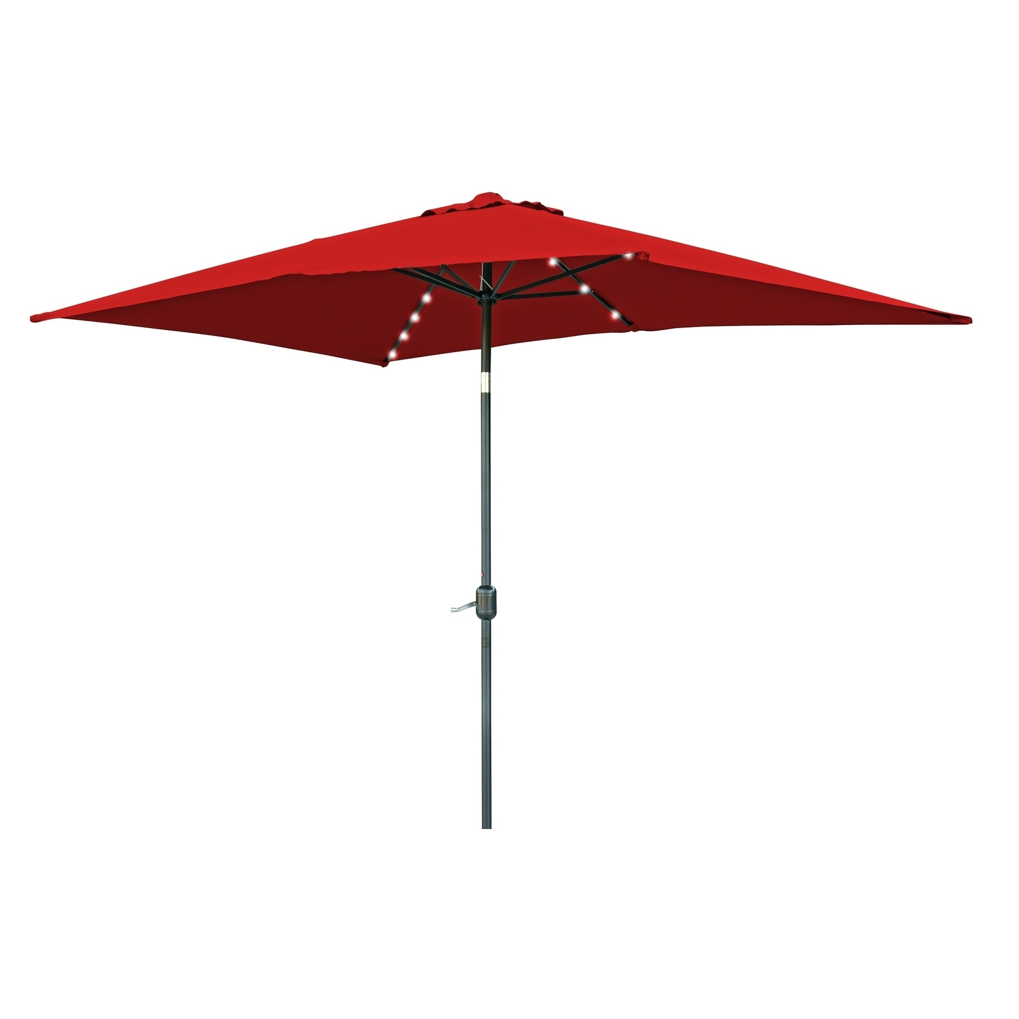 Favorite Red Patio Umbrellas Intended For Shop Rectangular Solar Powered Led Lighted Patio Umbrella – 10' X (View 3 of 20)