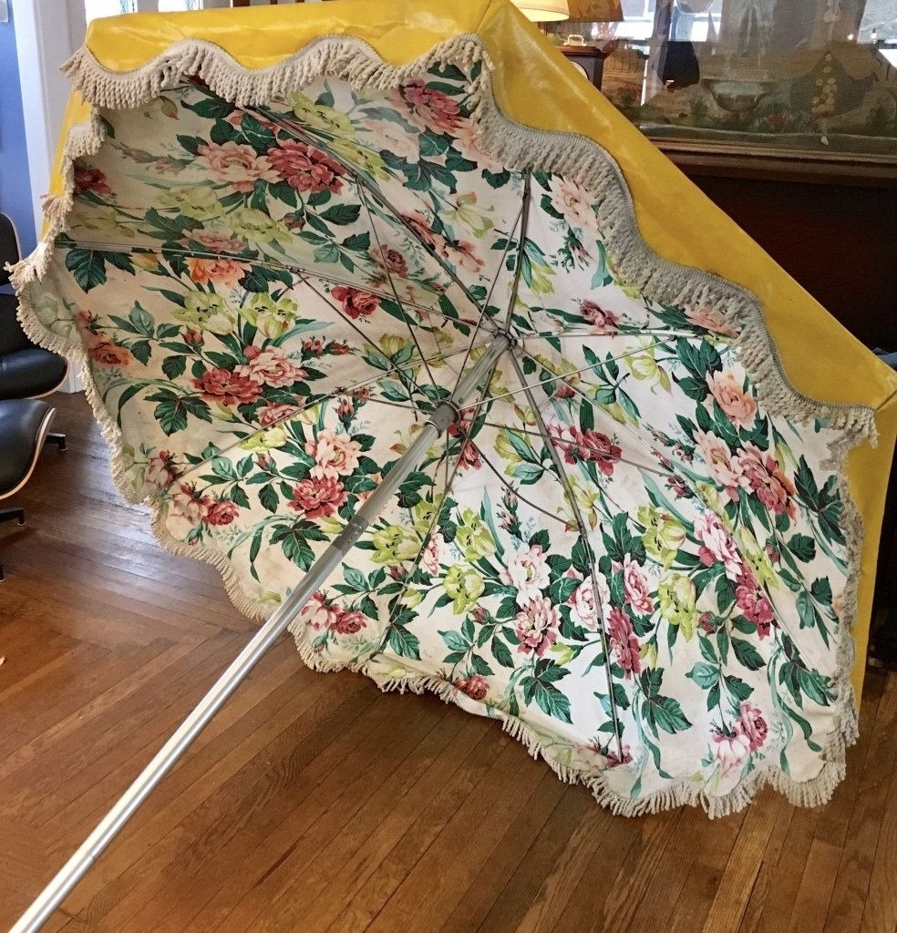 Favorite Vintage Bright Yellow Vinyl Beach Umbrella, 1950S, White Fringe With Regard To Vinyl Patio Umbrellas With Fringe (View 5 of 20)