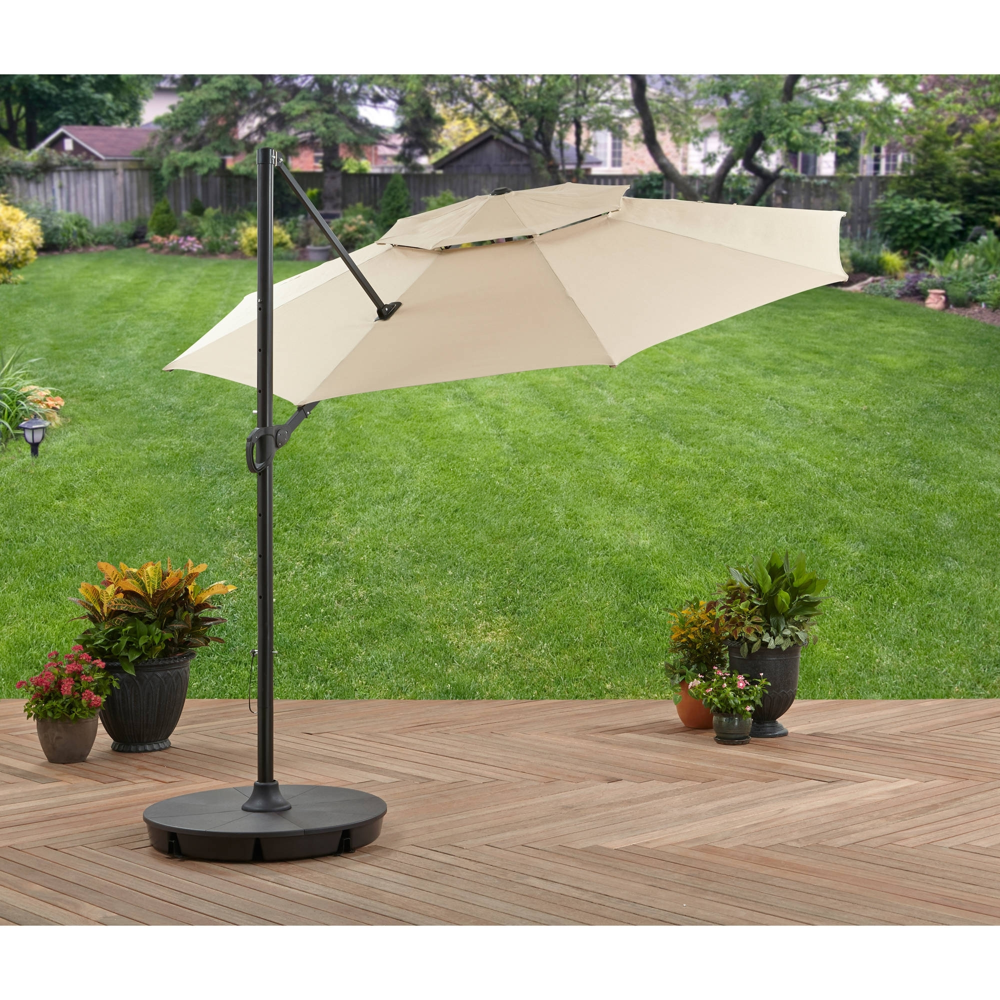 Favorite Walmart Patio Umbrellas Intended For Better Homes And Gardens 11' Offset Umbrella With Base, Tan (View 14 of 20)