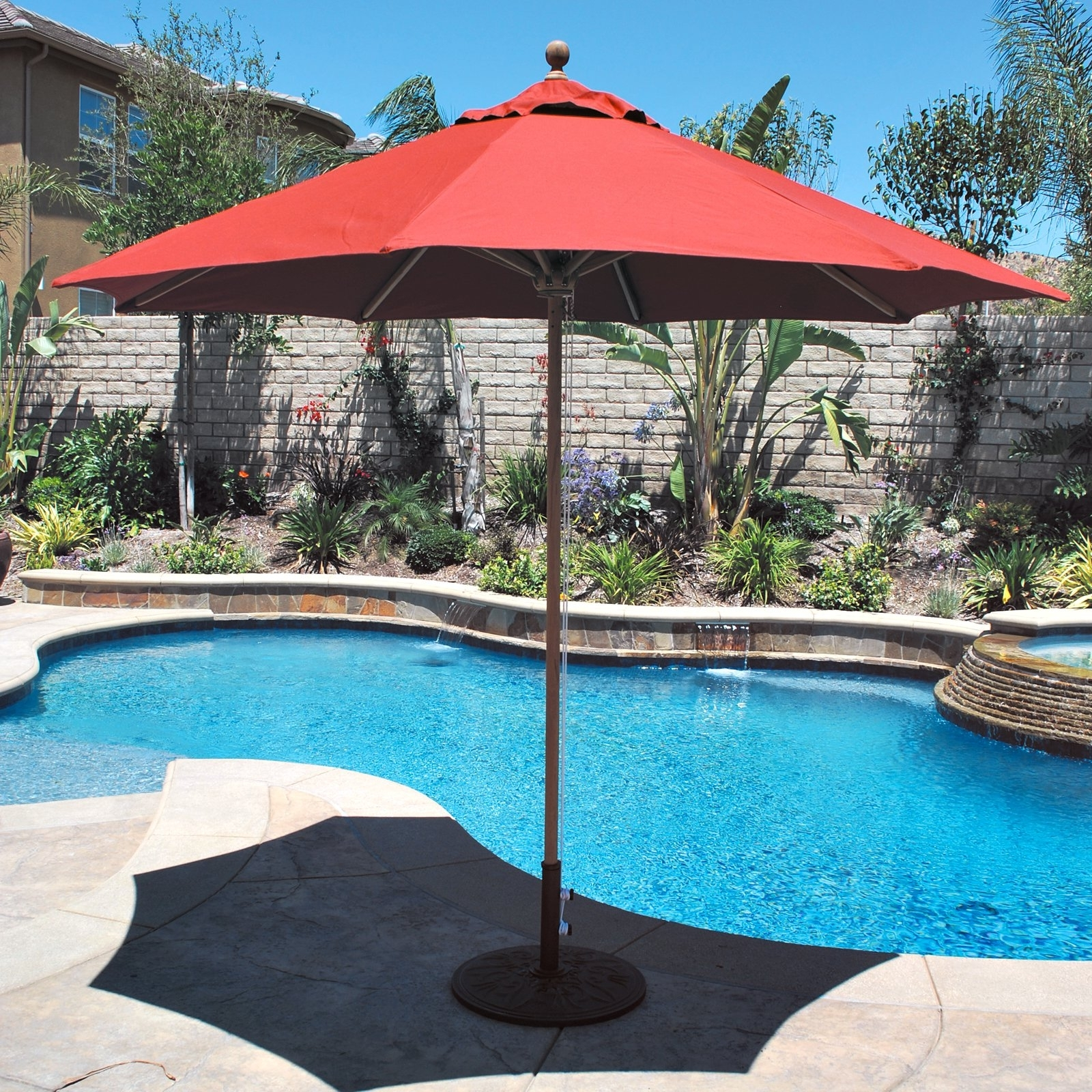 Furniture: Exterior Wonderful Exterior Design With Red Large Patio With Regard To Latest Free Standing Patio Umbrellas (View 12 of 20)