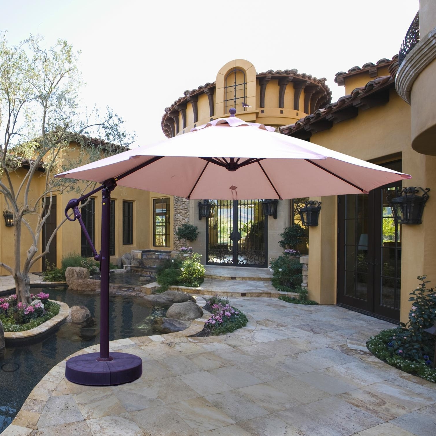 Galtech 11 Ft Aluminum Cantilever Patio Umbrella With Easy Lift And Throughout Well Known 11 Ft Patio Umbrellas (View 10 of 20)