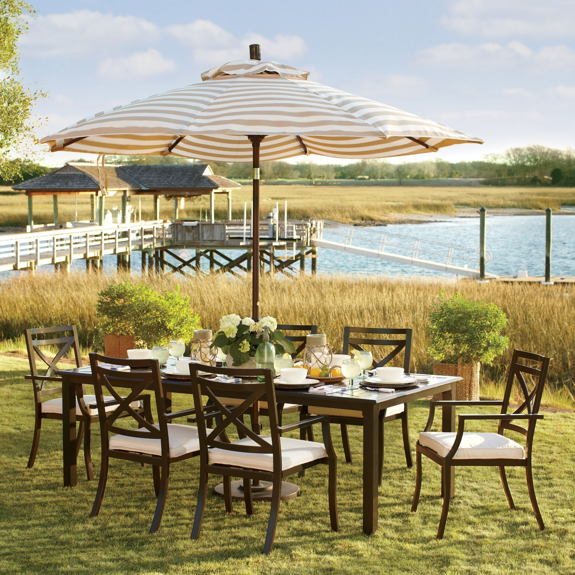 Garden: Enchanting Outdoor Patio Decor Ideas With Patio Umbrellas Throughout Most Popular Cheap Patio Umbrellas (Gallery 4 of 20)