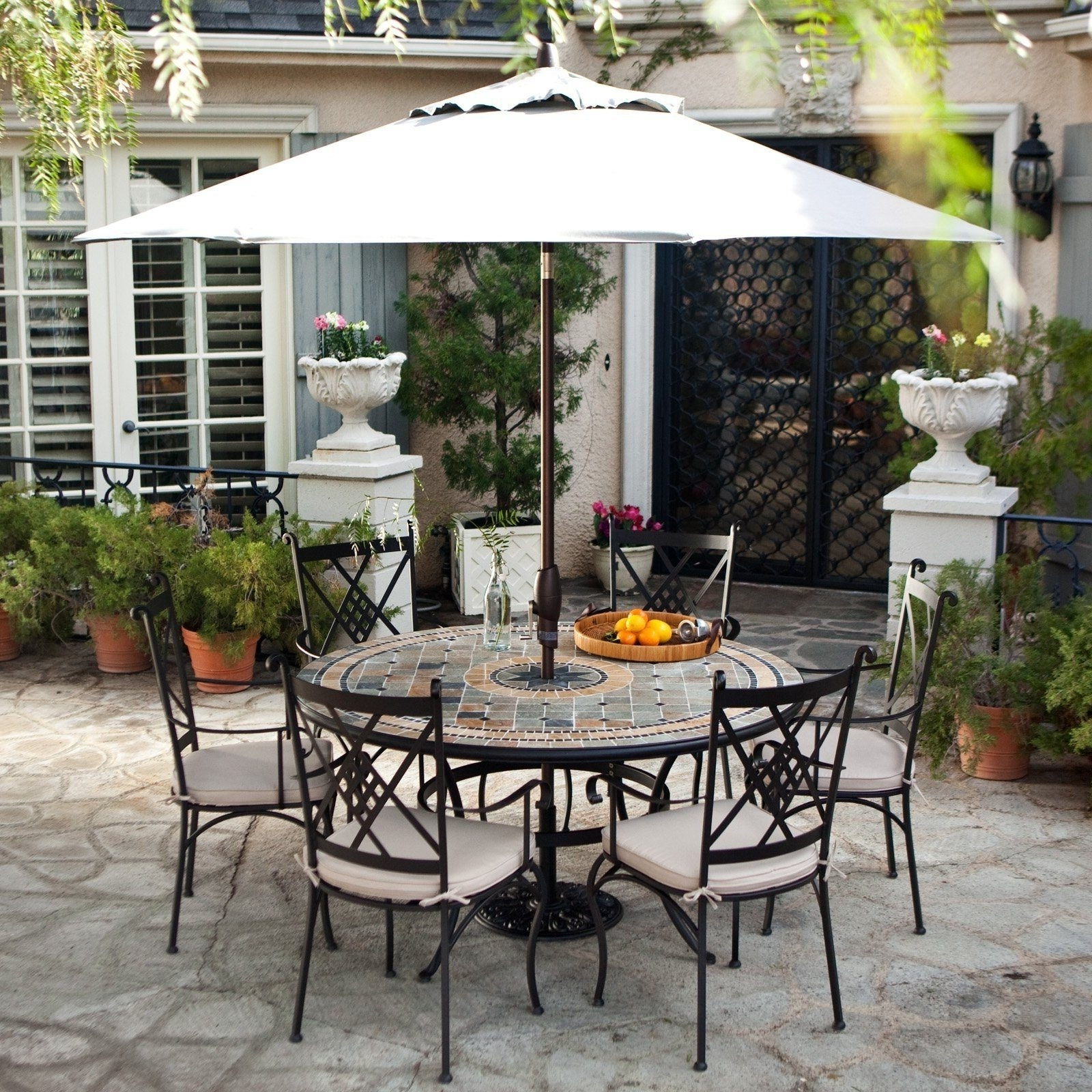 Garden: Enchanting Outdoor Patio Decor Ideas With Patio Umbrellas Within 2019 Small Patio Tables With Umbrellas (View 8 of 20)