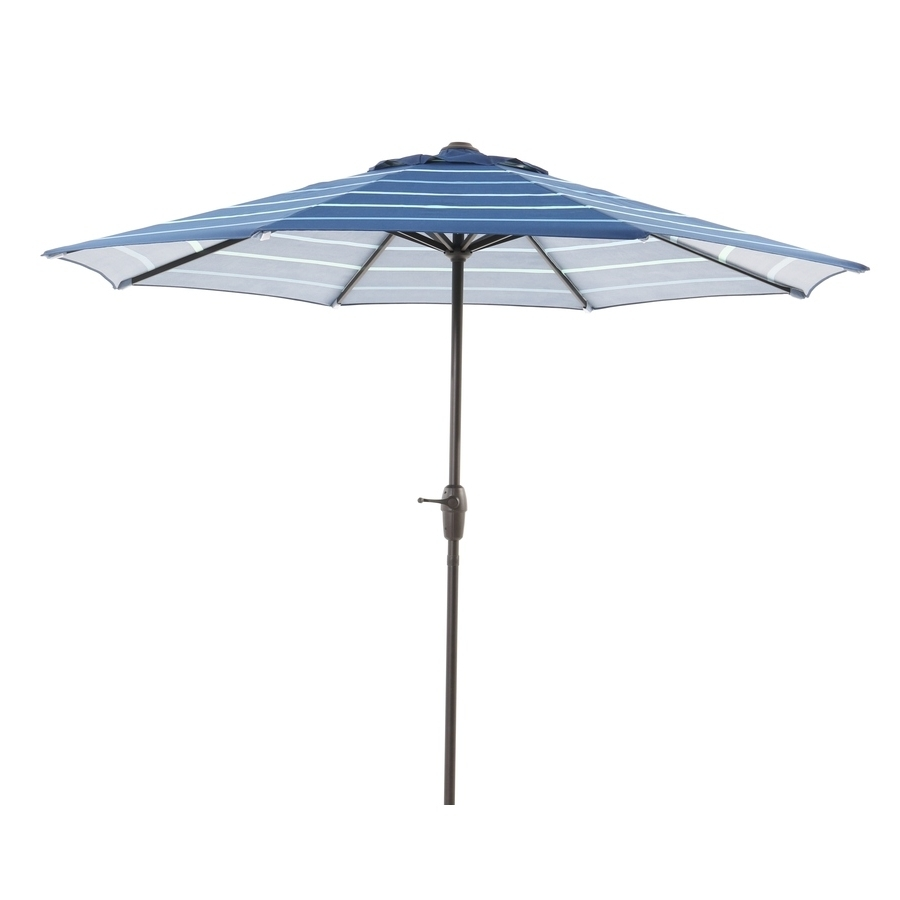 Garden Treasures Patio Umbrellas Intended For Most Recently Released Shop Garden Treasures Blue Stripe Market Patio Umbrella (Common: 9 (Gallery 17 of 20)