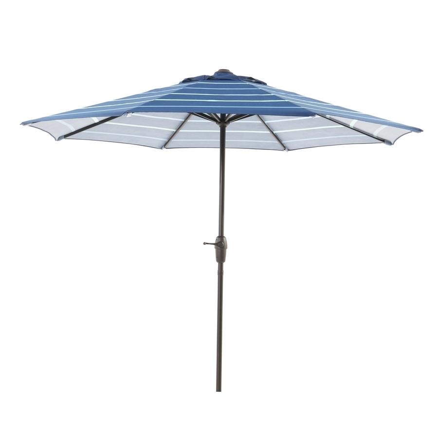 Garden Treasures Patio Umbrellas Intended For Most Recently Released Shop Garden Treasures Blue Stripe Market Patio Umbrella (Common: (View 17 of 20)