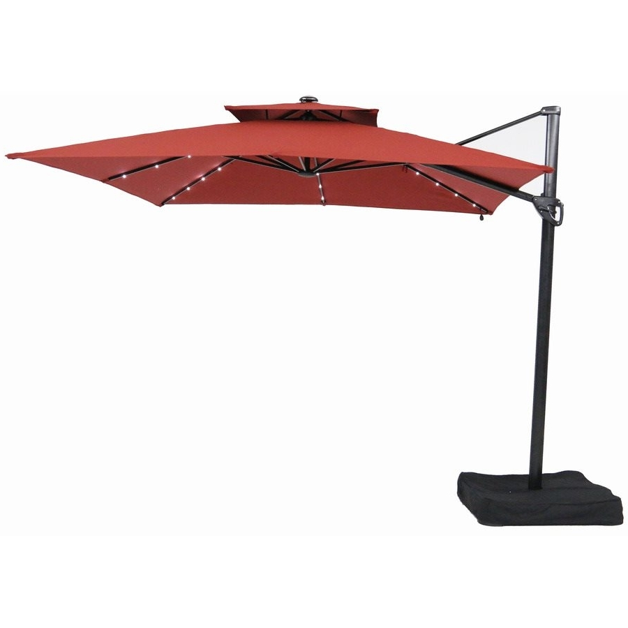 Garden Treasures Patio Umbrellas With Regard To Famous Garden Treasures 10 Ft Square Offset Umbrella With Leds, Patio (View 15 of 20)