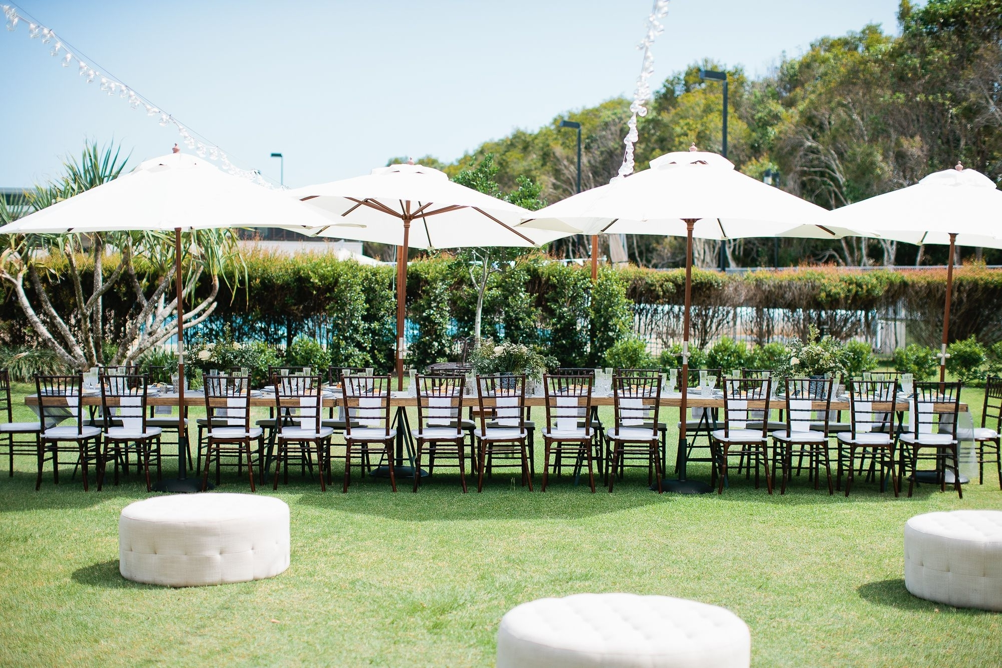 Gold Coast Patio Umbrellas Throughout Most Current Hampton Event Hire // White Market Umbrellas / Long Wooden Dining (View 10 of 20)