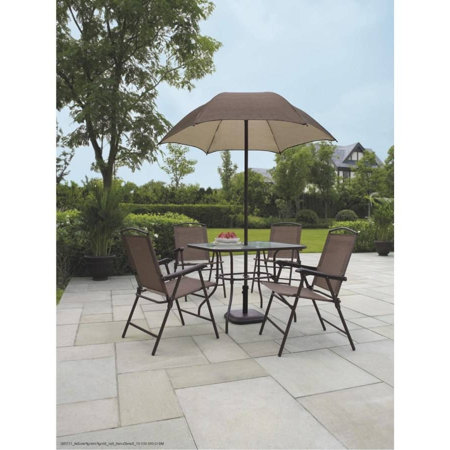 Gorgeous Patio Furniture Sets With Umbrella Mainstays Sand Dune 6 Pertaining To Well Liked Patio Furniture Sets With Umbrellas (Gallery 10 of 20)
