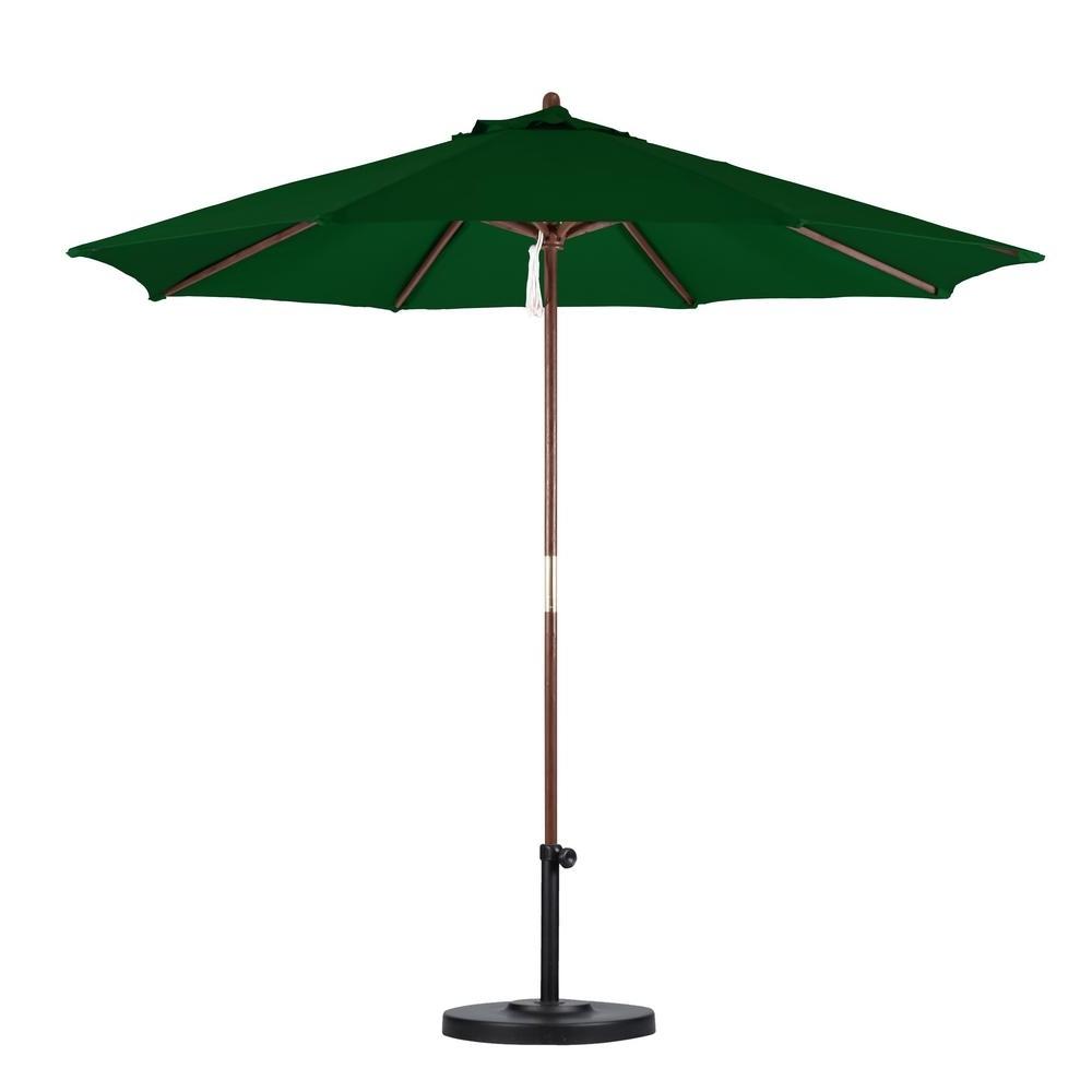 Green Patio Umbrellas For Preferred California Umbrella 9 Ft. Wood Pulley Open Patio Umbrella In Hunter (Gallery 6 of 20)