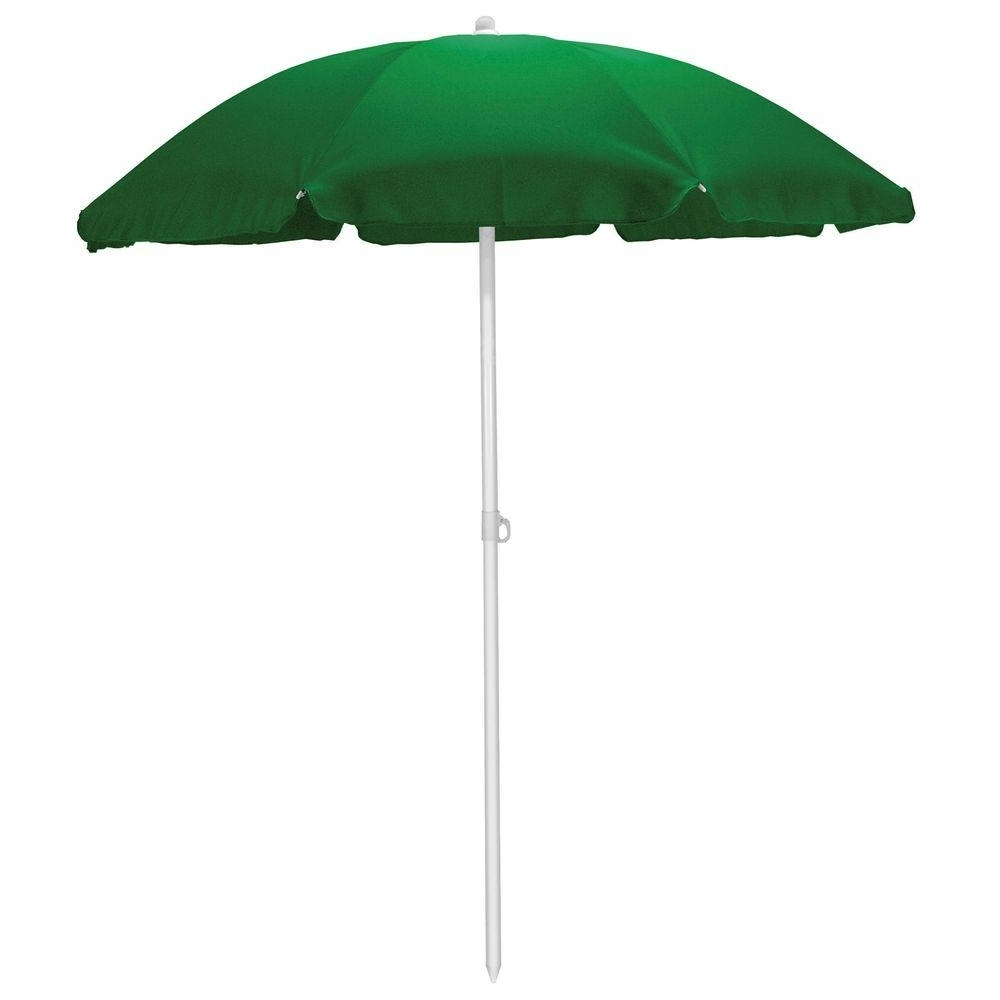 Green Patio Umbrellas With Newest Picnic Time 5.5 Ft. Beach Patio Umbrella In Hunter Green 822 00 121 (Gallery 15 of 20)