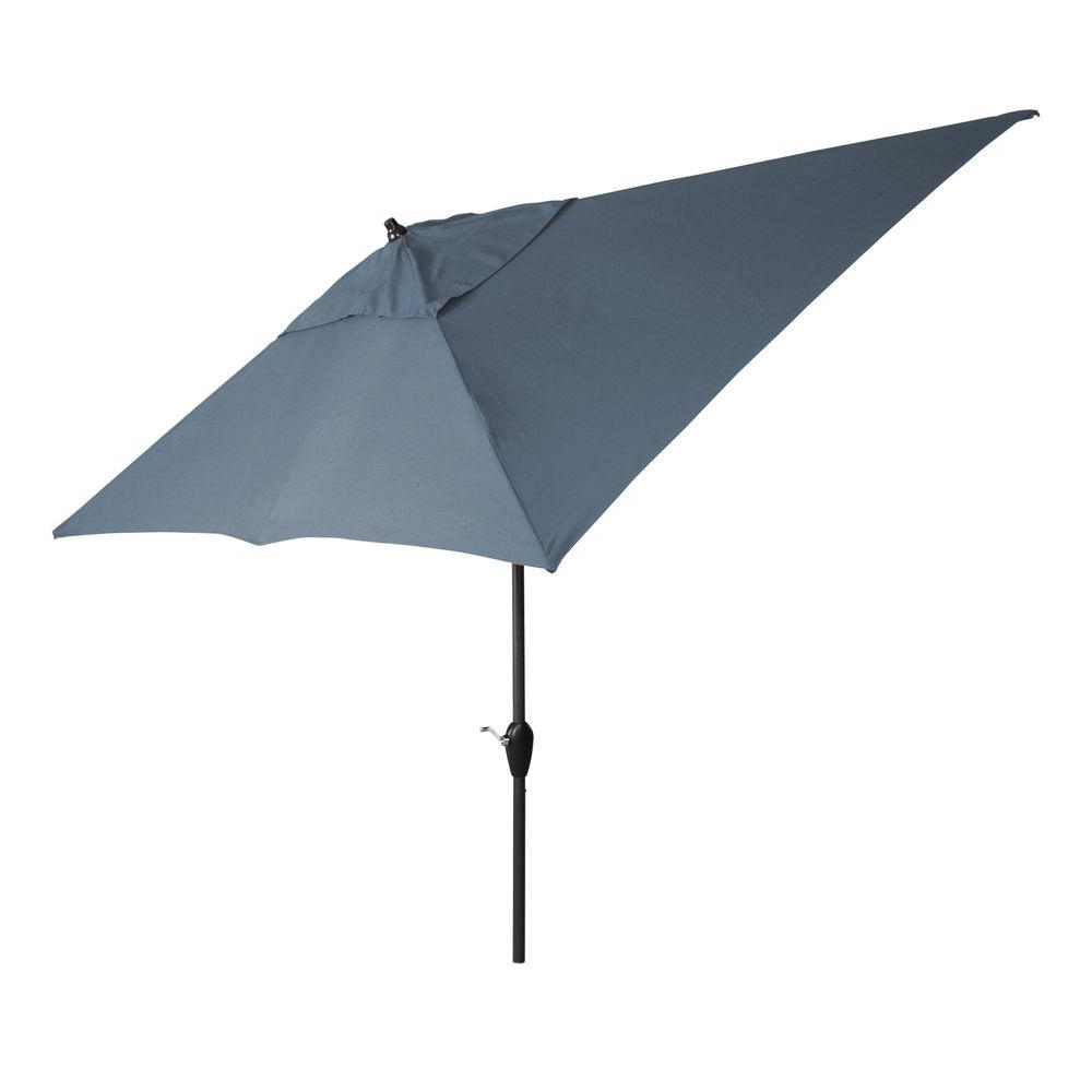 Grey Patio Umbrellas For Well Liked Hampton Bay 10 Ft. X 6 Ft. Aluminum Patio Umbrella In Cashew With (Gallery 19 of 20)