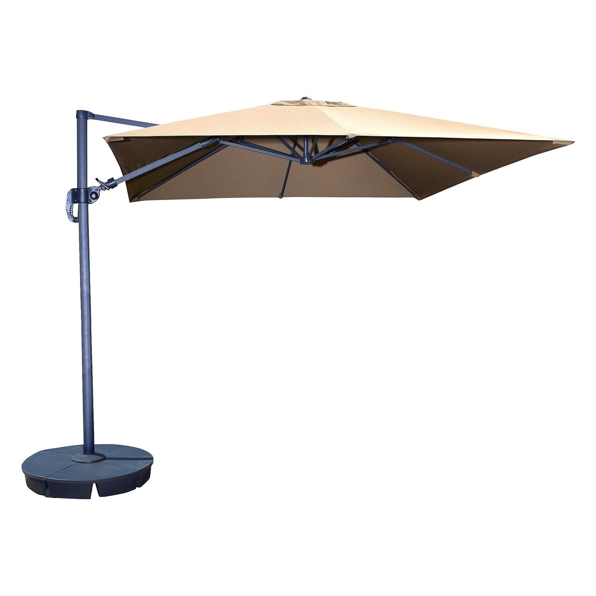Grey Patio Umbrellas Pertaining To Latest Island Umbrella Santorini Ii 10' Square Cantilever Umbrella In Stone (View 7 of 20)