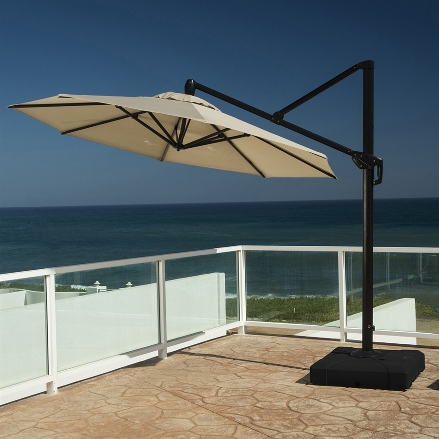 Grey Patio Umbrellas With Regard To Recent Shop Rst Brands Slate Grey Offset 10 Ft Patio Umbrella With Base At (Gallery 11 of 20)