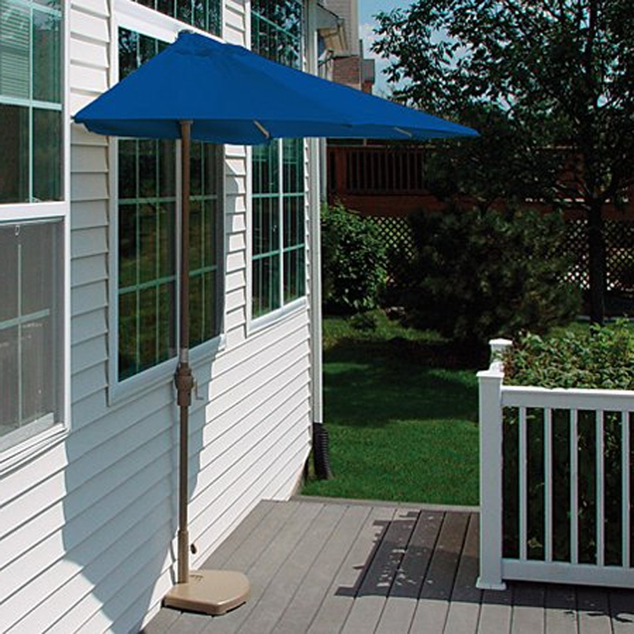 Half Patio Umbrellas For 2019 Shop Blue Star Group Brella Blue Half Round 4 Ft Patio Umbrella At (View 2 of 20)