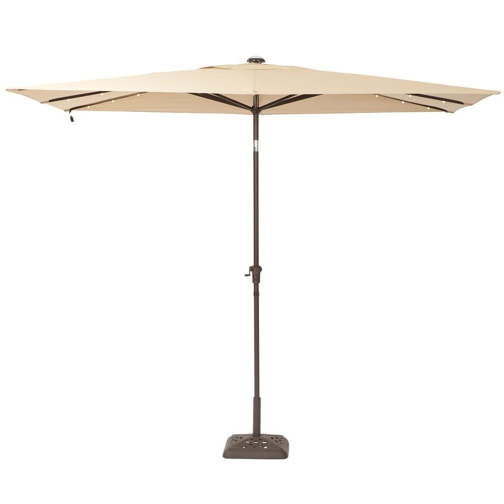 Hampton Bay 10 Ft. X 6 Ft. Aluminum Solar Patio Umbrella In Cafe With Recent Hampton Bay Patio Umbrellas (Gallery 4 of 20)