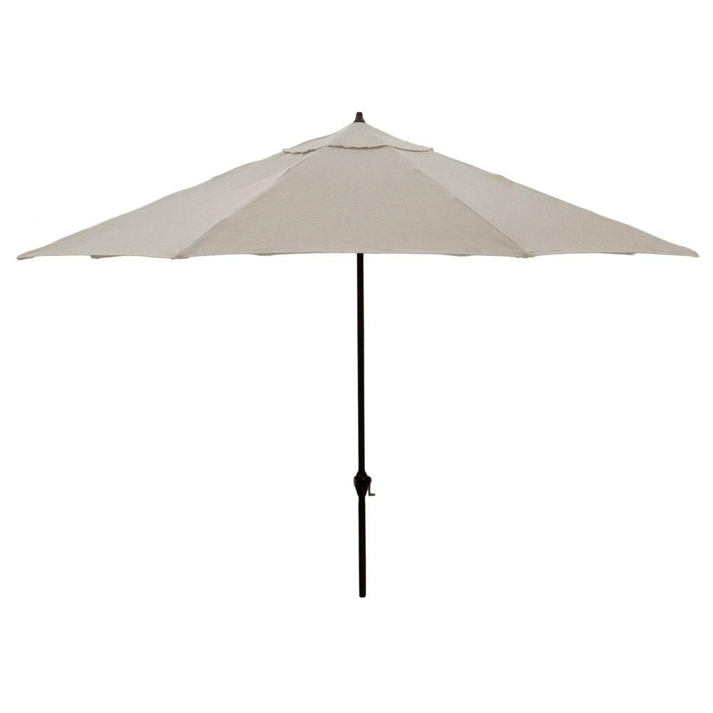 Hampton Bay 11 Ft. Aluminum Patio Umbrella In Gray 9111 01407200 Throughout Most Popular Grey Patio Umbrellas (Gallery 9 of 20)