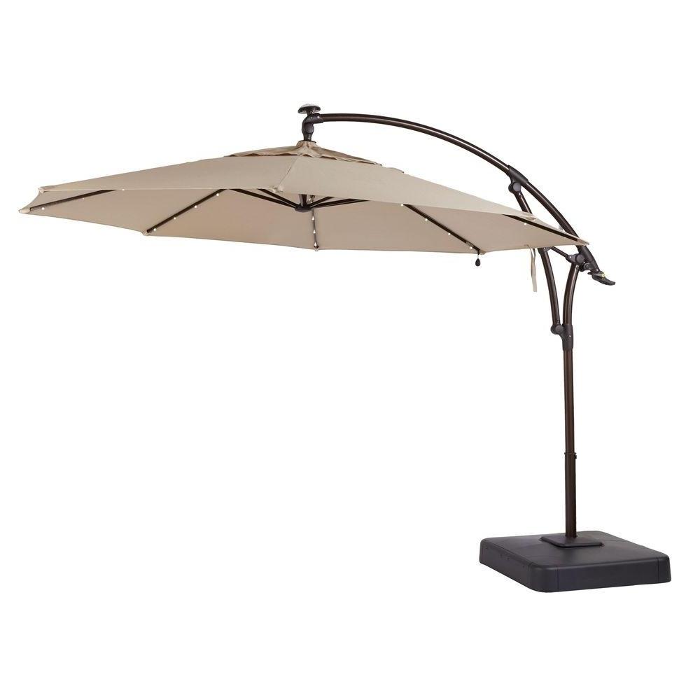 Hampton Bay 11 Ft. Led Offset Patio Umbrella In Sunbrella Sand Inside Recent 11 Foot Patio Umbrellas (Gallery 1 of 20)