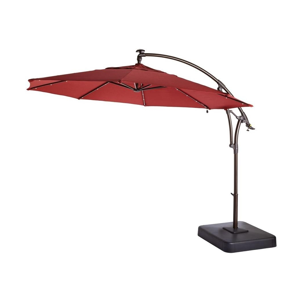 Hampton Bay 11 Ft. Led Round Offset Patio Umbrella In Chili Red Within Widely Used Solar Patio Umbrellas (Gallery 3 of 20)