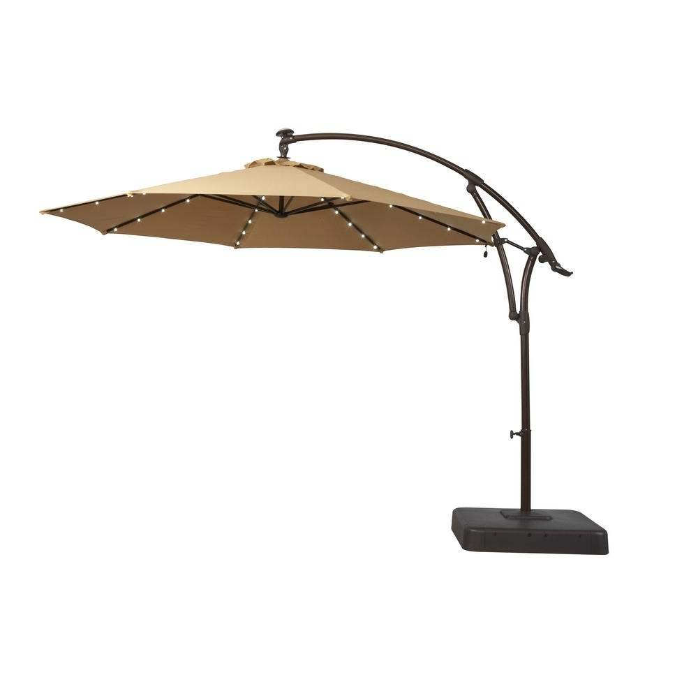Hampton Bay 11 Ft. Solar Offset Patio Umbrella In Cafe Yjaf052 Cafe Regarding Best And Newest Solar Lights For Patio Umbrellas (Gallery 4 of 20)