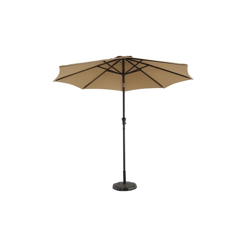 Hampton Bay 9 Ft. Steel Crank And Tilt Patio Umbrella In Cafe Yjauc Within Most Current Patio Umbrellas With Fans (Gallery 10 of 20)