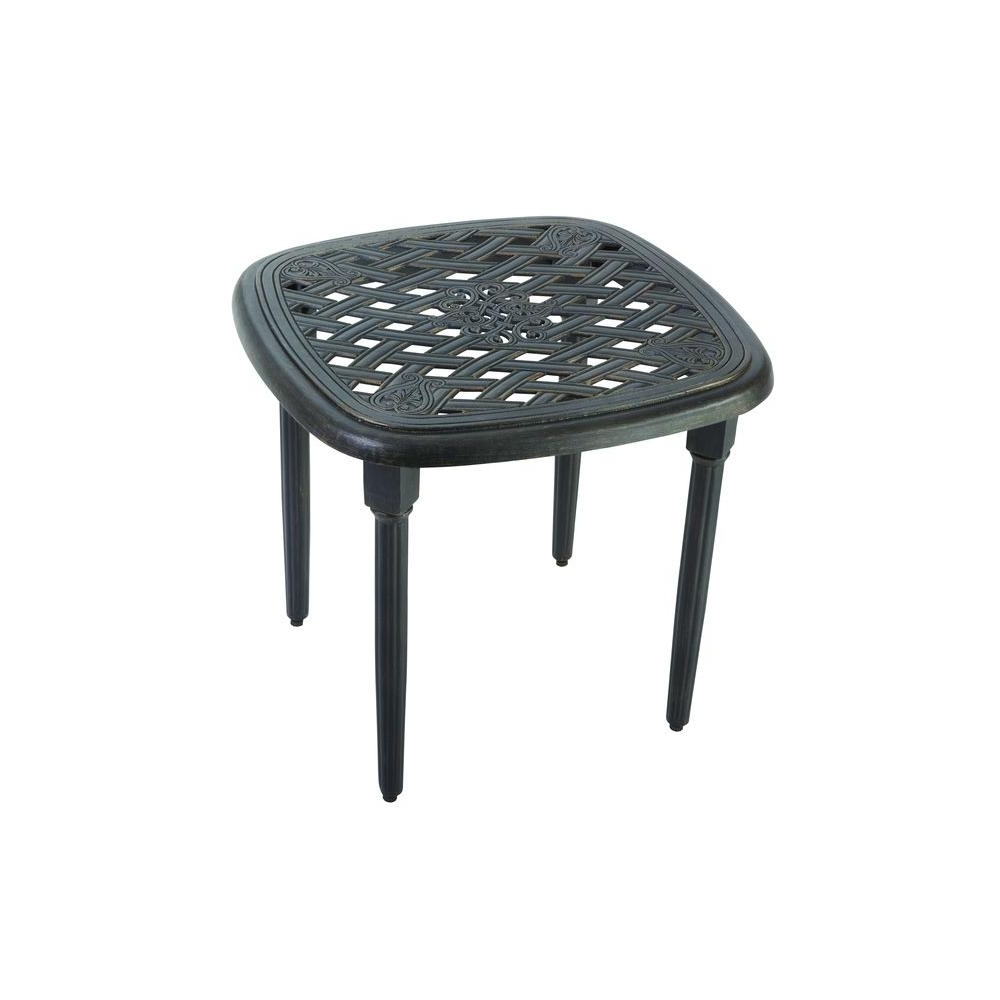 Hampton Bay Edington 22 In. Patio Side Table 131 012 22Et – The Home Intended For Current Patio Umbrellas With Accent Table (Gallery 7 of 20)