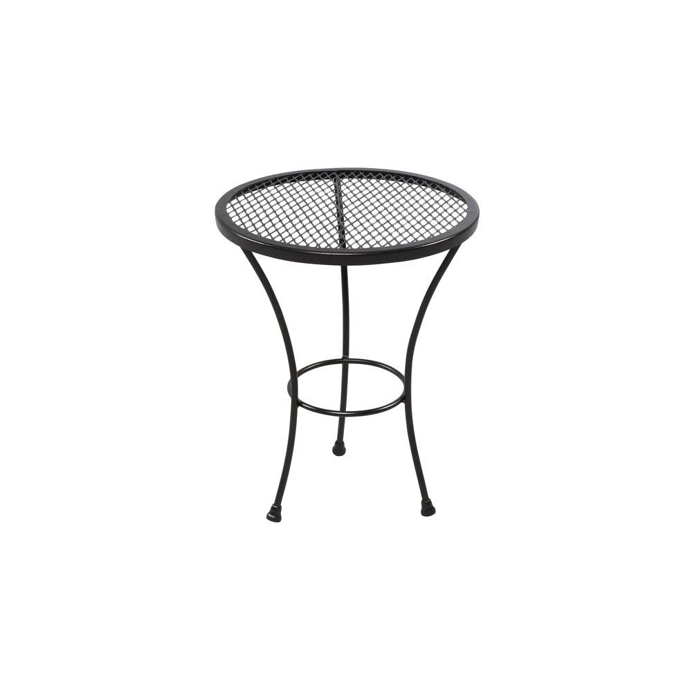 Hampton Bay Oak Cliff Metal Outdoor Side Table 176 411 20et – The Throughout 2018 Patio Umbrellas With Accent Table (View 9 of 20)