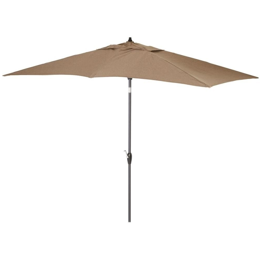 Hampton Bay Offset Patio Umbrellas With Most Popular Hampton Bay 9 Ft. Rectangular Aluminum Solar Patio Umbrella In Taupe (Gallery 19 of 20)