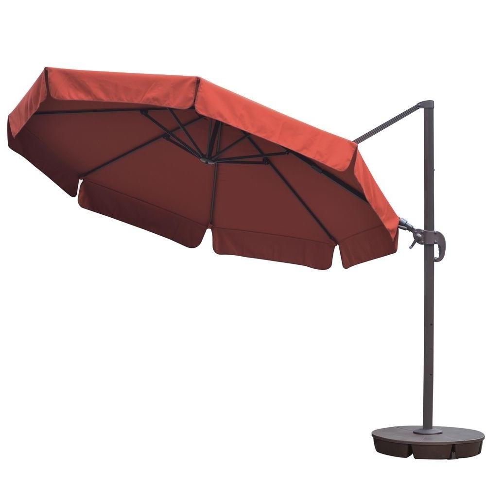 Hampton Bay Offset Patio Umbrellas With Regard To Preferred 52 11 Offset Patio Umbrella, Sunbrella 11 Offset Patio Umbrella With (Gallery 17 of 20)