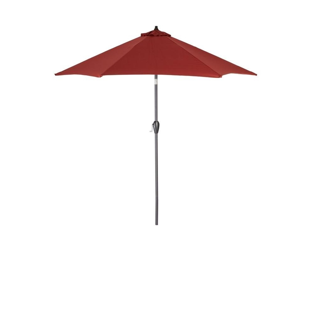 Hampton Bay Patio Umbrellas Within 2019 Hampton Bay 9 Ft. Aluminum Patio Umbrella In Chili 9900 01004011 (Gallery 3 of 20)