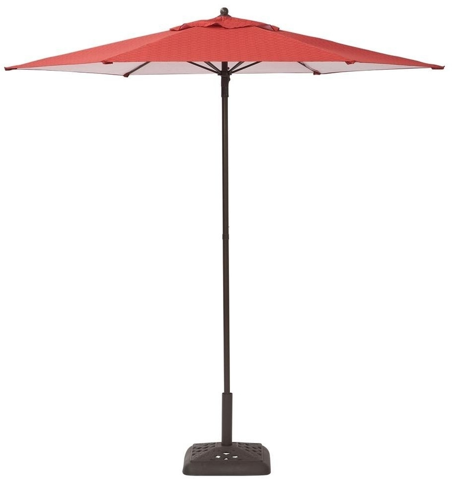 Hampton Bay Steel Push Up Geo Chili Patio Umbrella 7 1/2 Feet Long Inside Favorite Hampton Bay Patio Umbrellas (Gallery 9 of 20)