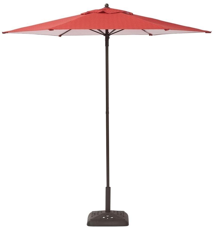Hampton Bay Steel Push Up Geo Chili Patio Umbrella 7 1/2 Feet Long Inside Favorite Hampton Bay Patio Umbrellas (View 9 of 20)