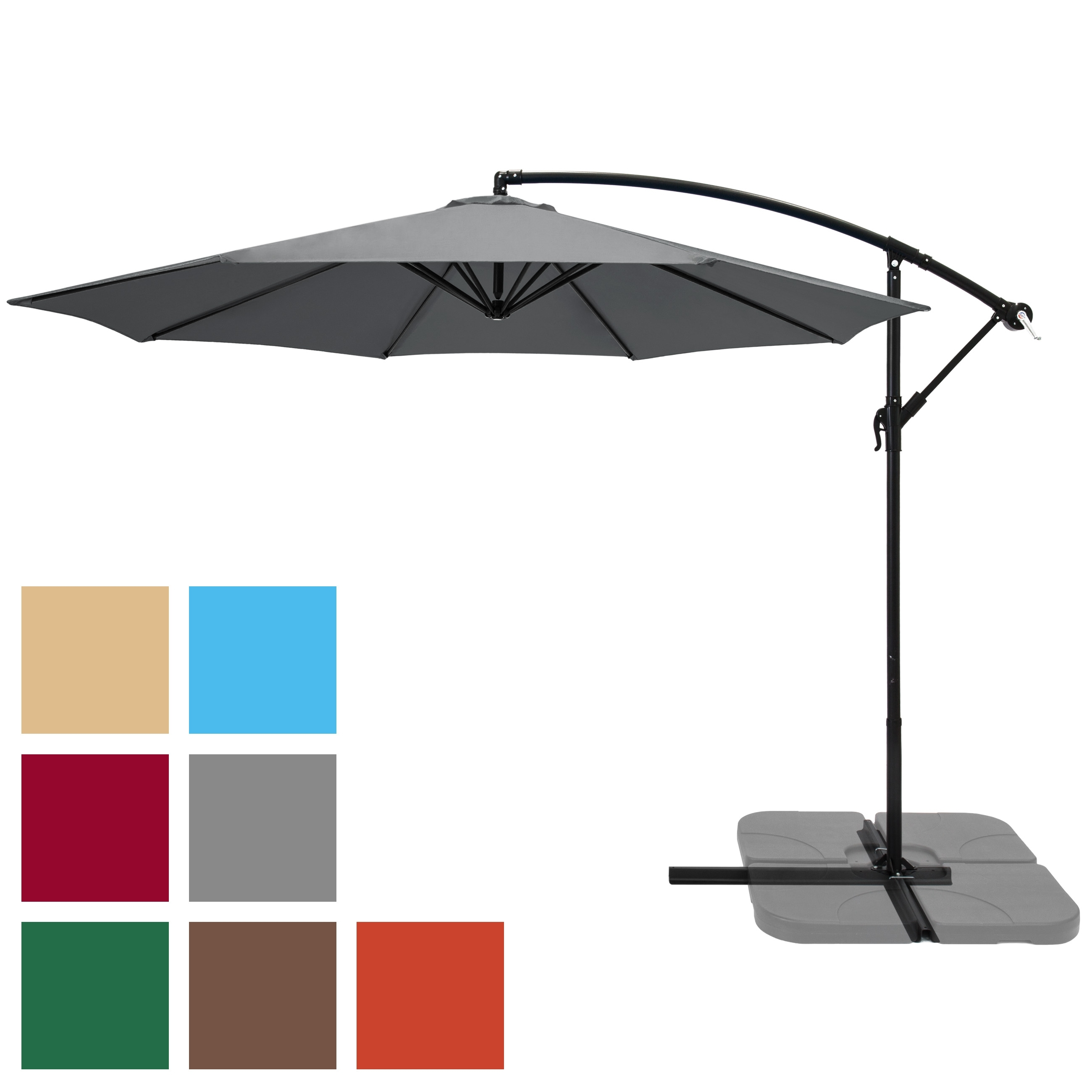 Hanging Offset Patio Umbrellas Intended For Famous Bestchoiceproducts: Best Choice Products 10Ft Offset Hanging Outdoor (Gallery 10 of 20)