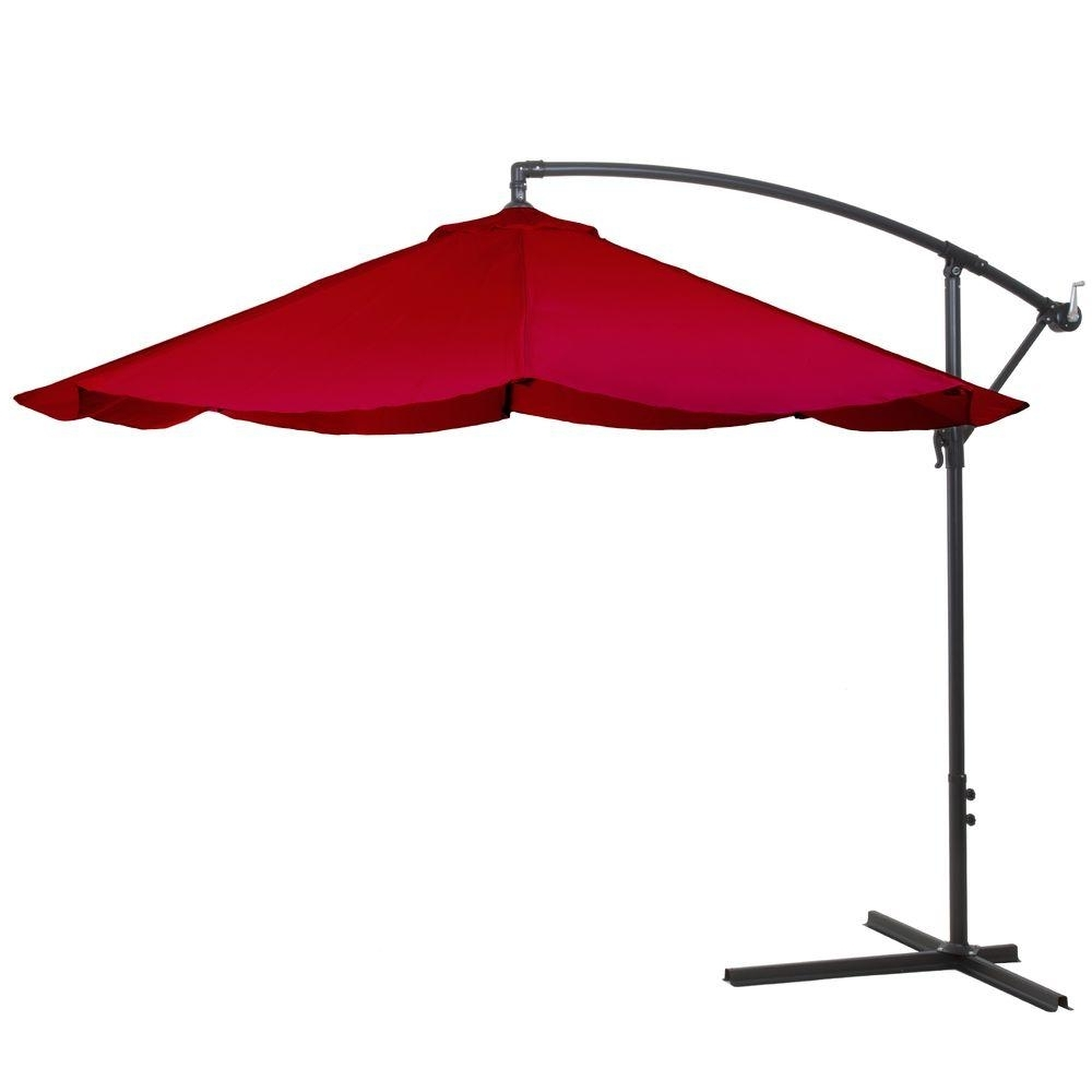 Hanging Offset Patio Umbrellas Intended For Most Current Pure Garden 10 Ft. Offset Aluminum Hanging Patio Umbrella In Red (Gallery 3 of 20)