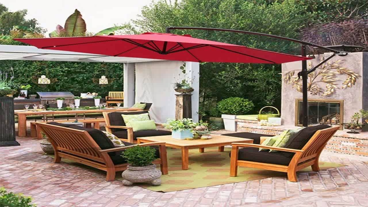 Hanging Offset Patio Umbrellas Regarding Popular Best Choice Products Patio Umbrella Offset 10 Hanging Umbrella (Gallery 2 of 20)