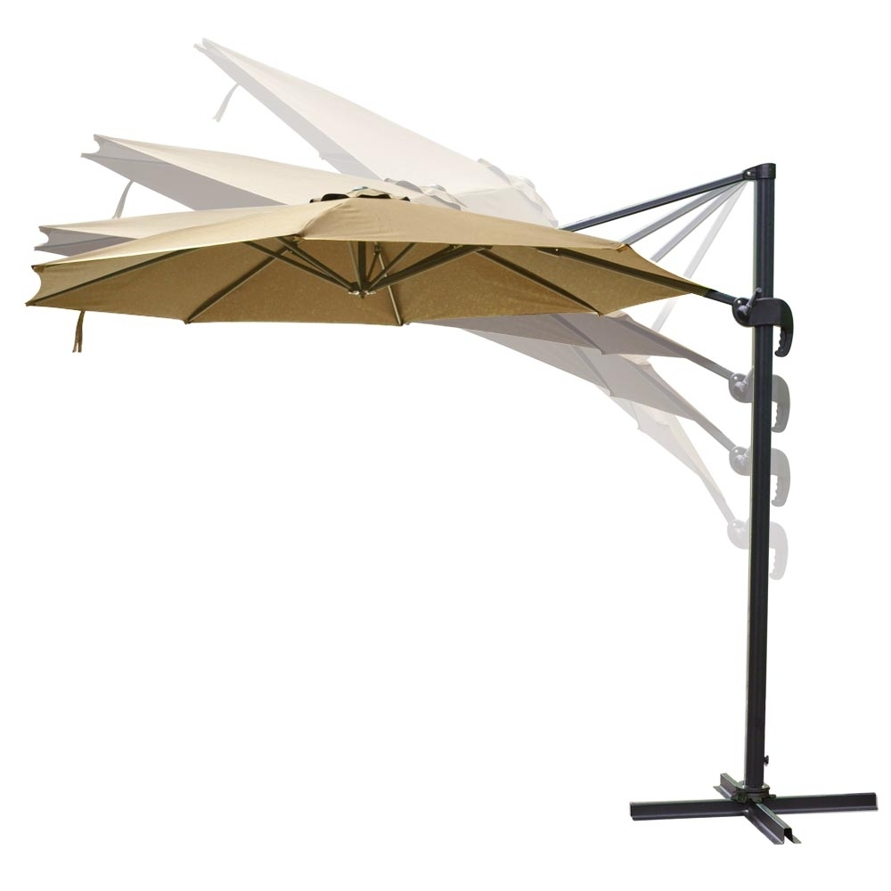 Hanging Offset Patio Umbrellas Throughout Trendy 10' Roma Offset Patio Umbrella 8 Ribs 200G/sqm Outdoor Cantilever (View 11 of 20)