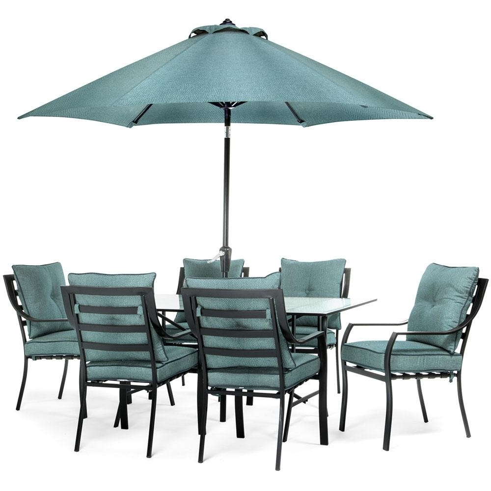 Hanover Lavallette 7 Piece Glass Top Rectangular Patio Dining Set With Regard To Popular Patio Table Sets With Umbrellas (Gallery 14 of 20)