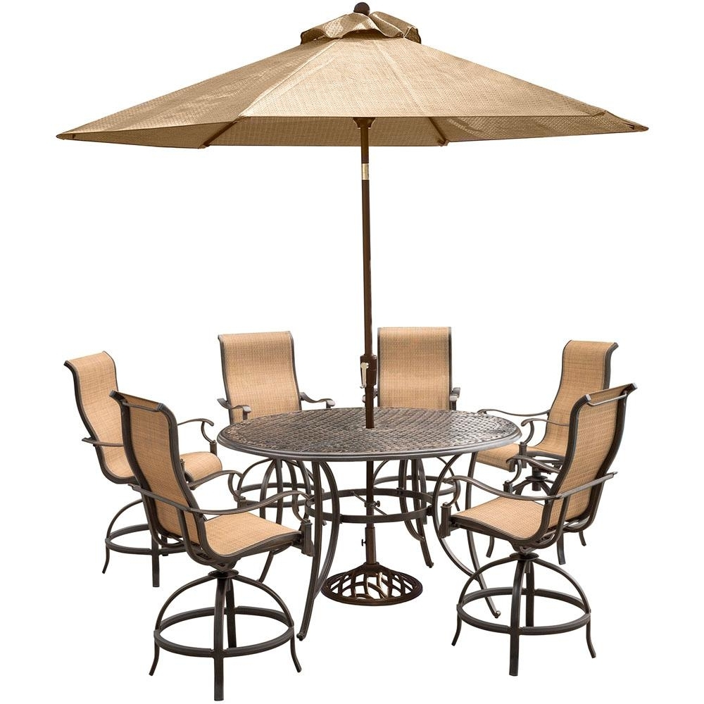 Hanover Manor 7 Piece Aluminum Round Outdoor High Dining Set With Regarding Fashionable Patio Umbrellas For Bar Height Tables (Gallery 8 of 20)