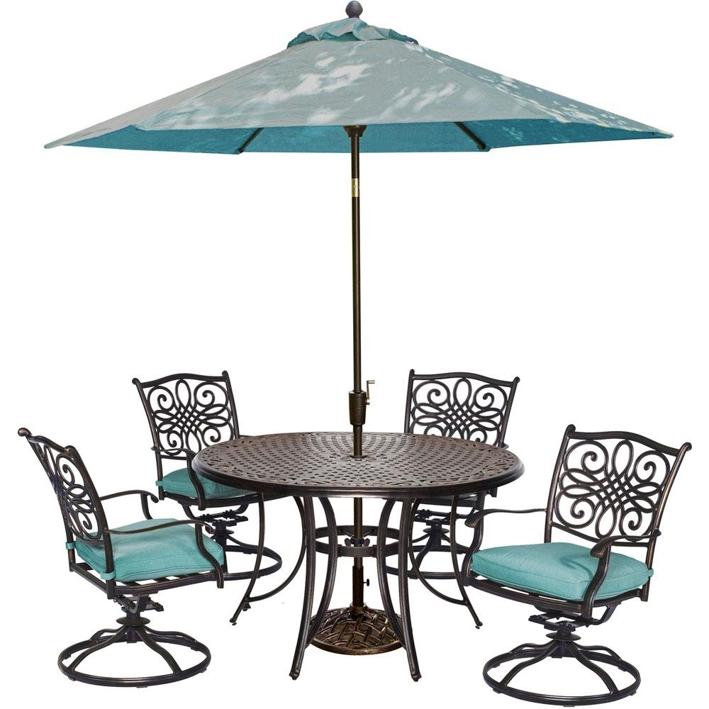 Hanover Traditions 5 Piece Outdoor Round Patio Dining Set, 4 Swivel With Widely Used Patio Dining Sets With Umbrellas (Gallery 7 of 20)