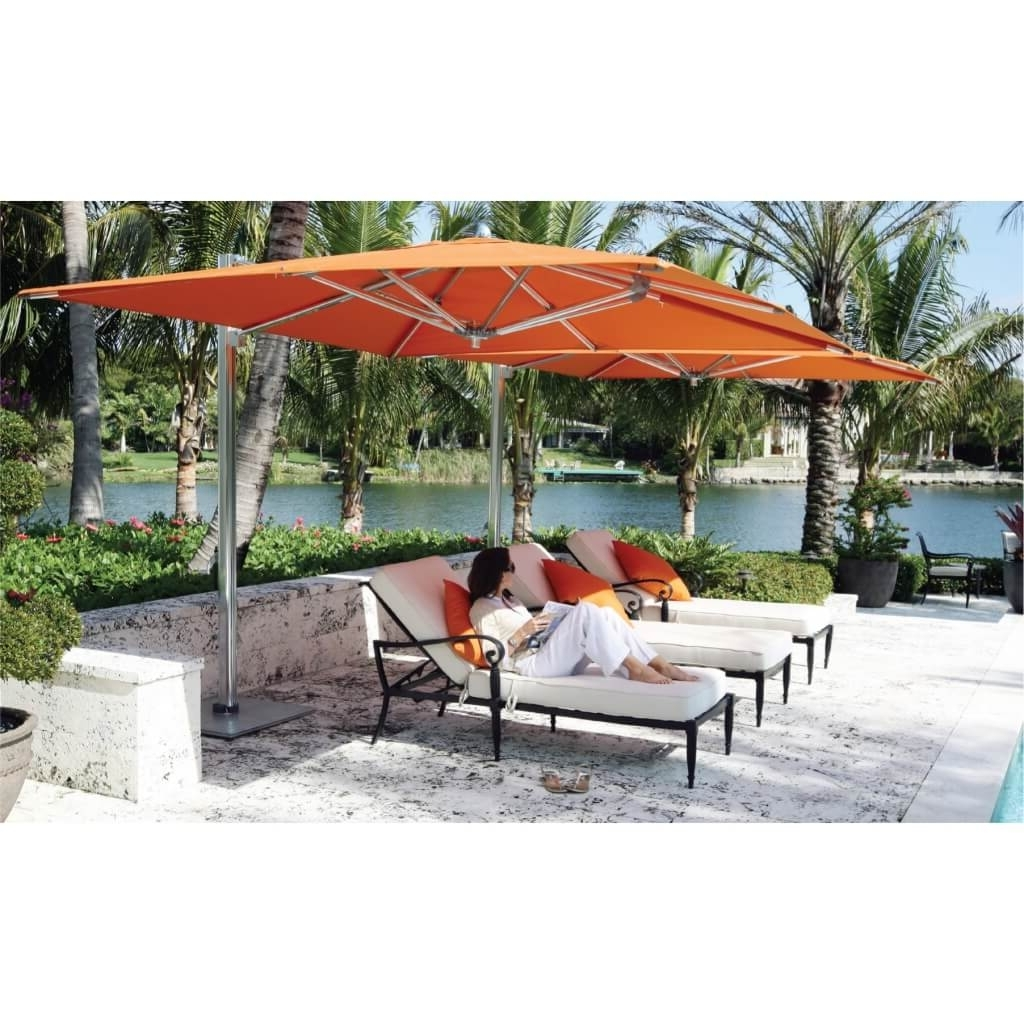 Heavy Duty Patio Umbrellas For Recent Modern Sundeck Patio Ideas With Silver Stainless Steel Orange Canopy (Gallery 9 of 20)