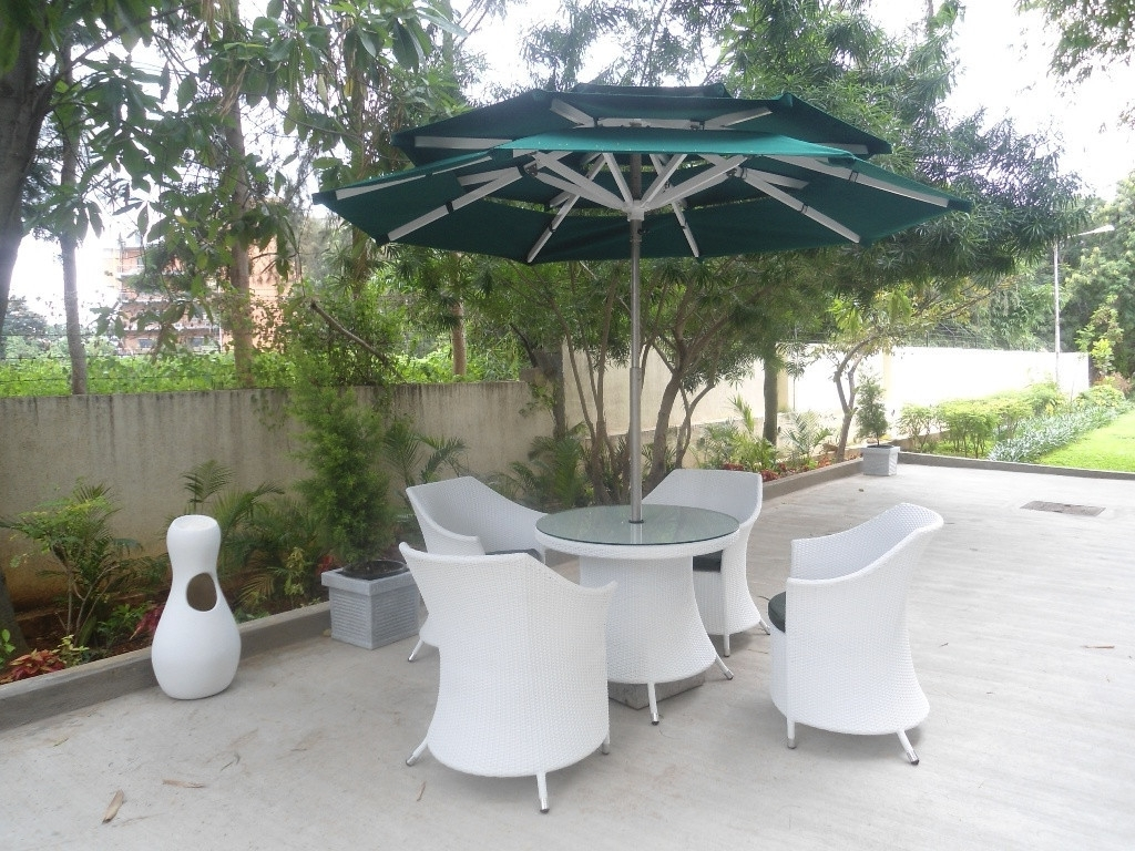 Heavy Duty Patio Umbrellas Inside Fashionable Patio Ideas Heavy Duty Patio Umbrella With White Patio Furniture In (View 13 of 20)